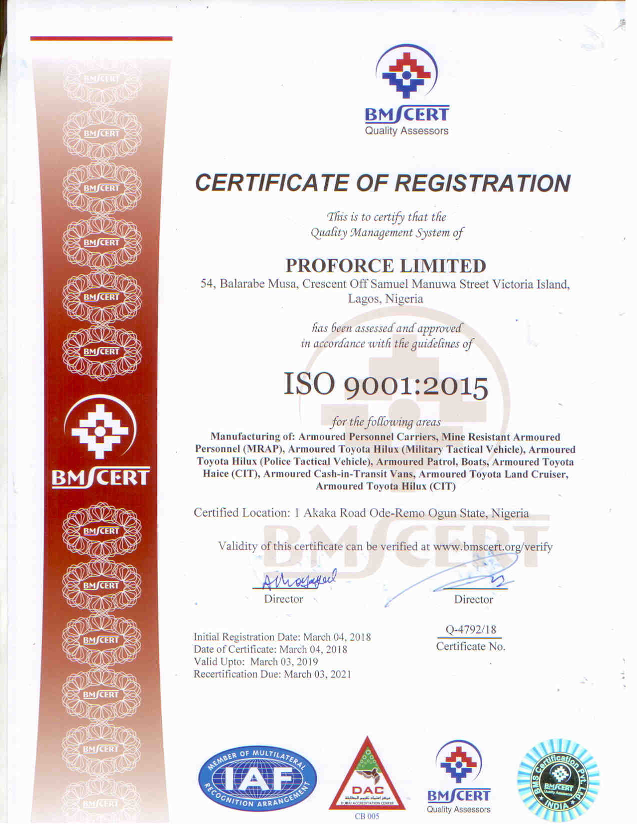 Proforce | ISO Certificate